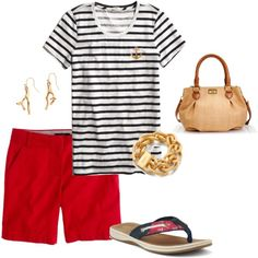 This weekend casual outfit idea takes its inspiration from the sea with a nautical T-shirt, red shorts, blue sandals and gold coral earrings. [http://www.franticbutfabulous.com/2013/06/14/working-mom-outfit-idea-anchors-away/?utm_medium=social_media_campaign=FBFsocial]