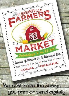 Farmers Market Flyer ~ Local Market ~ 5x7 Invite ~ 8.5x11 Flyer ~ 11x14 Poster ~ 300 dpi Digital Invitation by DitDitDigital on Etsy