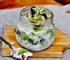 Ingredients: 2/3 cup coconut milk (chilled from a refrigerator) 2 tbsp chia seeds 1 scoop vanilla protein powder – 30 g ( I use Jay Robb vanilla flavor – sweetened with Stevia, nothing artificial) 1 tbsp agave 2 kiwi (sliced or cubed) 1/3 cup blueberries 3 tbsp sliced almonds 1 tbsp unsweetened shredded coconut _______________________________________ …