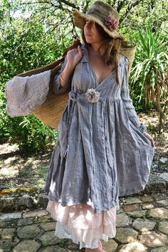 Blue linen/cotton wrap dress. Also cute grass hat and bag