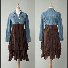 Women's repurposed country vintage retro crop jean jacket/dress