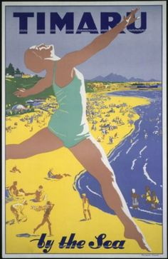 Turistico poster of Timaru, in New Zealand, A4 Poster, Retro Poster, Poster Vintage, Poster Wall, New Zealand Art, New Zealand Travel, Vintage Advertisements, Vintage Ads, Vintage Trends