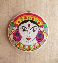 V Living Indian Goddess Durga, Embroidery Hoop, Linen with Bright Colours Wall Art (Multicolour, 10 Inches) Indian Goddess, Durga Goddess, Durga Maa, Kali Puja, Madhubani Art, Madhubani Painting, Durga Painting, Indian Folk Art, Indian Ethnic