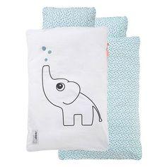 tweezijdige ledikant dekbedovertrek olifant blauw
