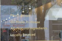 Parka Food Co. Window   Plant-Based  All Made In-House  All natural Ingredients  Locally Sourced Window Plants, Vegan Comfort Food, Vegan Restaurants, Plant Based Recipes, Whole Food Recipes, Parka, Natural, Health, How To Make