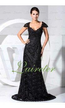 Elegant Black Lace Column Floor Length V-neck  mother of bride Dress with Cap Sleeves