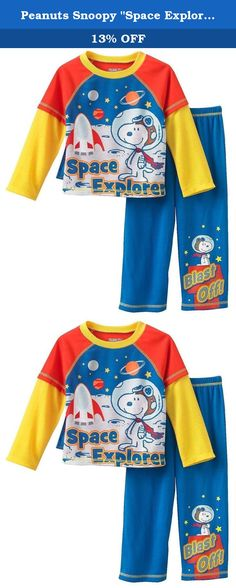"""Peanuts Snoopy """"Space Explorer"""" Little Boys Pajama Set , Size 3T. He'll feel like an astronaut in this boys' Peanuts Snoopy """"Space Explorer"""" pajama set."""