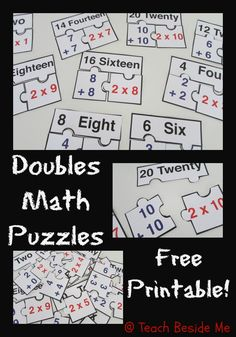 Doubles Math Puzzles ~ relating addition to multiplication | Teach Beside Me