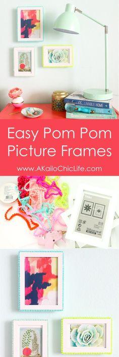 Easy DIY Pom Pom Picture frames. Use pom pom trim and hot glue to craft your own…