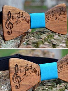 Music Wooden bowtie Musical sign Wedding party bowtie Groomsmen Men gift Father…