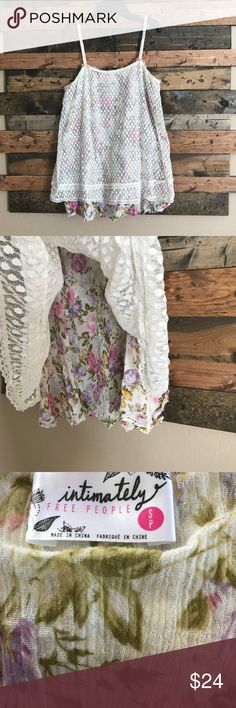 """Free People Flower Child Top This is adorable! When I put it on its long enough for me to wear as a really short mini dress, but I'm 5'1"""".   Beautiful lace sheer cover over floral print lining.   It's so cute with some girl boots and jean shorts! Free People Tops Blouses"""