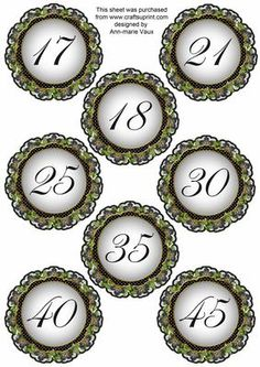 Black FMK Dotty Doily Numbers 17 to 45 Topper Sheet on Craftsuprint designed by Ann-marie Vaux - These number toppers will be the most useful of embellishments to anyone making cards or scrapbooking etc. Mix and match with other styles and embellishments that I make within the colour families. These are sized to match the double doily kits, or team them with something else. Other numbers are available in this design, simply look at the multi link. - Now available for download!