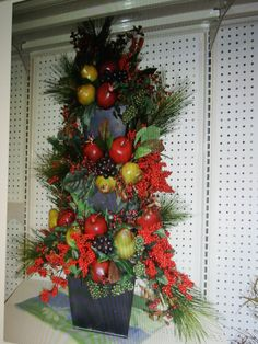 Stacked containers w/ Holiday fruit arrangement by kyong