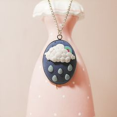 Clouds and Rain Polymer Clay Necklace