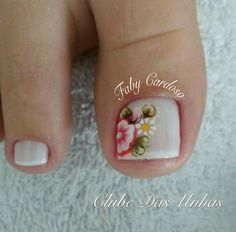 Unhas Decoradas com Flores Mexicanas – Passo a Passo Toe Nail Art, Toe Nails, Spring Nails, Summer Nails, Cute Pedicures, Popular Nail Art, Manicure Y Pedicure, Gorgeous Nails, You Nailed It