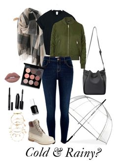 """Cold & Rainy"" by laura-rathbone on Polyvore featuring WithChic, ShedRain, Topshop, River Island, Timberland, Accessorize, Lime Crime, Essie, Christian Dior and MAC Cosmetics"