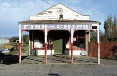 """Robin Morrison """"Fish and Chip shop, Kaitangata, Otago"""" - 1979"""