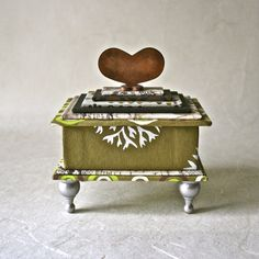 Handmade Gift Box in shades of Green and Rust by ThePaperAssembly