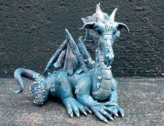 Danube Polymer clay dragon by AtelierDragonfly on Etsy, $50.00