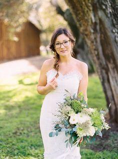 cute bride with glasses - photo by Danielle Poff http://ruffledblog.com/arroyo-grande-barn-wedding