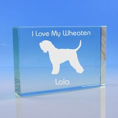 Wheaten Terrier Dog Lover Gift Personalised Engraved Glass Paperweight Ornament - Wheaten Terrier Keepsake, Wheaten Terrier Ornament