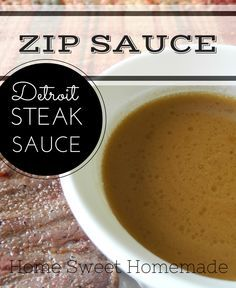 """Zip Sauce -A Detroit Original! Serve with steaks, chops, mushrooms. I didn't know it was a """"Detroit"""" thing but come to think of it, I haven't seen it anywhere since I moved out of Michigan. Sauce Recipes, Beef Recipes, Cooking Recipes, Barbacoa, Pesto, Catering, Great Recipes, Favorite Recipes, Yummy Recipes"""