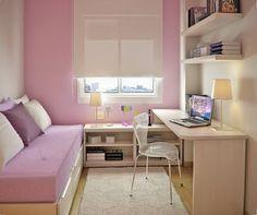Decore espaços pequenos com sofá-cama e móveis modulares. Aposte nas cores para criar uma atmosfera agradável