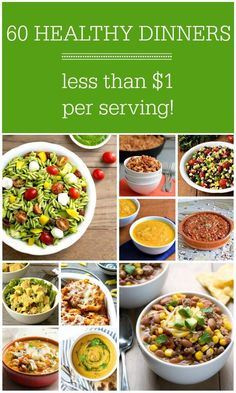 These 60 healthy frugal dinner recipes will help you to save money while feeding your family nutritious food on busy nig Healthy Recipes On A Budget, Healthy Family Meals, Nutritious Meals, Healthy Dinner Recipes, Real Food Recipes, Healthy Snacks, Cheap Healthy Food, Frugal Recipes, College Recipes