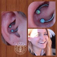 A very healed daith from July. forward facing circular barbell ft. Light blue Opal from @anatometalinc #couturebodypiercing #anatometaljewelry #anatometal #legitbodyjewelry #cantonohio #healedpiercings (at Couture Tattoo & Body Piercing)