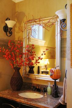 Purchase Brown Vase With Orange Branches And Place Pumpkin On The Stand Cute Fall Decor For Guest Bathroom