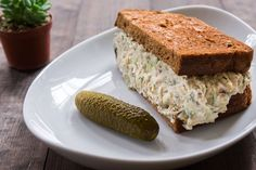 """A better """"tunafish"""" sandwich with all the texture and taste of the classic, and none of the fish. #vegan #plantbased #vegetarian #sandwich #lunch"""