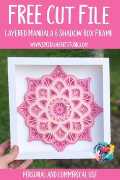 Free layered mandala and shadow box frame cut file Cajas Silhouette Cameo, Silhouette Cameo Christmas, Silhouette Frames, 3d Cuts, Flower Shadow Box, Paper Crafts, Diy Crafts, Preschool Crafts, Cricut Craft Room