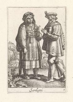 Pieter Lastman   Paar gekleed volgens de Sardiniaanse mode, Pieter Lastman, Anonymous, Johannes Covens en Cornelis Mortier, 1720 - 1772   Landschap met paar, gekleed in mode uit Sardinië, Italië. Het paar is naar elkaar gedraaid en ten voeten uit weergegeven. De vrouw draagt een wollen japon en een met bloemen versierde muts, in haar handen houdt ze eveneens bloemen vast. De man draagt een tabbaard en een gepluimde baret. De prent maakt deel uit van een twaalfdelige serie prenten met…