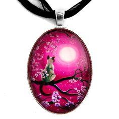 Zen Siamese Cat Sakura Necklace Magenta Pink Moon by laurali