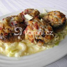 Zapečené žampiony na pórku se smetanou recept - Vareni.cz Meat, Chicken, Food, Essen, Meals, Yemek, Eten, Cubs