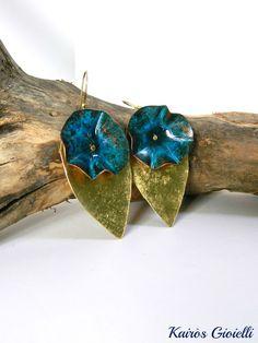 Spring_ handmade copper and brass earrings by Kairòs Gioielli