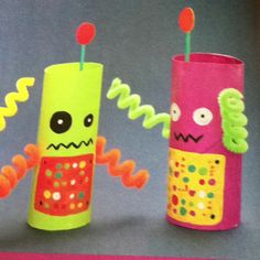 Charmin robots-start by painting a toothpick and the inside and outside of a toilet paper roll with acrylic paint. Let dry, then paint on the control panel, eyes and whatever other detail you desire. Cut a pipe cleaner in half and cool each piece around a pen. Use a pushpin to poke two holes into the tube, then insert the pipe cleaner arms. Glue a paper circle to one end of the toothpick and the end without circle glue on inside of roll. Cameron loves this!