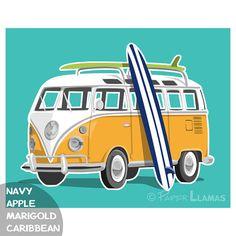 Items similar to Retro VW bus art print - beach surf wall art - custom colors - Volkswagen Combi van surfing decor on Etsy Decoration Surf, Surf Decor, Vans Surf, Bus Volkswagen, Van Drawing, Deco Surf, Bus Art, Beach Cars, Combi Vw