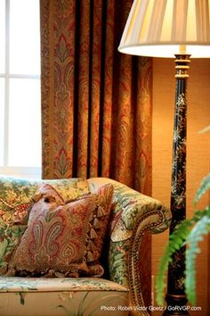 Classic Hill Interiors | Recent Projects.Similar to thrift custom curtains and fabrics for breakfast area.