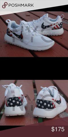 quite nice c489f 0e4e7 American Flag Nike Roshe One Triple White Custom This listing is for a  custom designed Roshe
