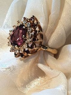 Vintage Ring Huge Pear Cut Amethyst & White by NorthCoastCottage, $299.00