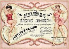 BURLESQUE / VINTAGE PERSONALISED HEN'S NIGHT PARTY INVITATION X 1