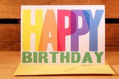 Happy Birthday Block Print Inspired Card    New 5x7 Greeting Cards