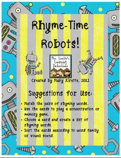 Lirette's Learning Detectives: What each part of the robot had a word on it and you could construct the whole robot by matching the rhyming words? Robot Classroom, Classroom Freebies, Classroom Ideas, Future Classroom, Teaching Tips, Teaching Reading, Learning, Rhyming Activities, Language Activities