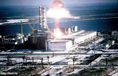 Reactor 4 at the Chernobyl nuclear plant, as it exploded.