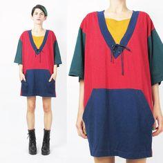 90s Color Block Tshirt Streetwear Tshirt Dress by honeymoonmuse