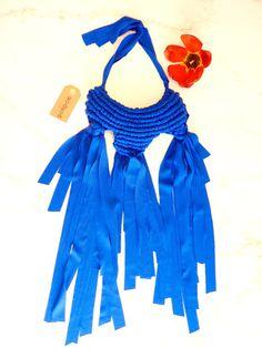 collana macramé blu in stoffa blue fabric di pompomfromflorence