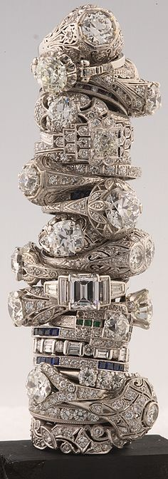 Barker's Antique Jewelry in Baton Rouge. Check out these vintage beauties from 1800s to 1940s. WOW! Stunning pieces.