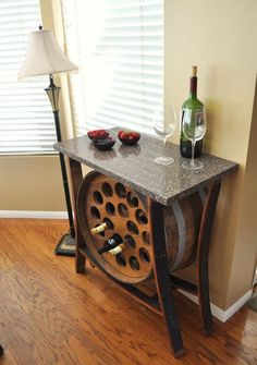 Wine barrel table with built-in wine rack