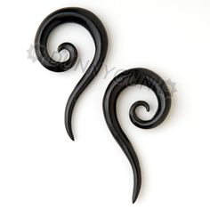 2G Horn Tail Spirals Gauged Plugs Hand Carved Organic Body Piercing Jewelry Earrings 2 gauge. $16.99, via Etsy.